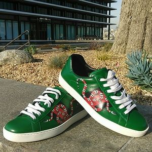 Gucci Green 🐍 Kingsnake  Shoes Saks Fifth Ave Ex.